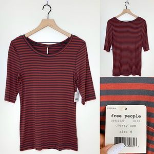 Free People Leader of the Pack Striped Top Tee